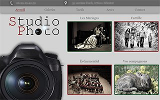 Conception de site pour Studio de Photographe - expertise Wordpress et Photoshop